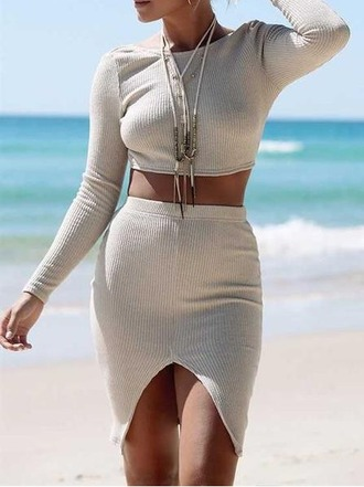 skirt girl girly girly wishlist bodycon bodycon skirt slit skirt crop crop tops cropped cute style two piece dress set two-piece high waisted skirt