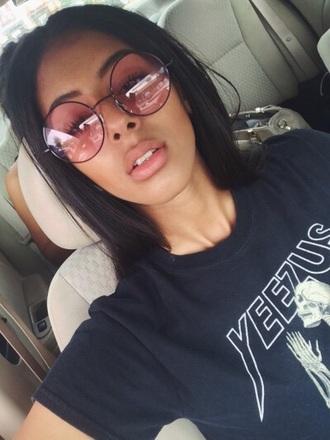 sunglasses pink round round frame glasses
