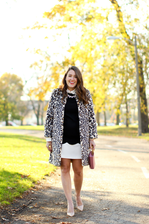sequins and stripes blogger leopard print coat fur leopard print winter coat fur coat dress scalloped mini dress black and white necklace pumps pointed toe pumps high heel pumps printed fur coat