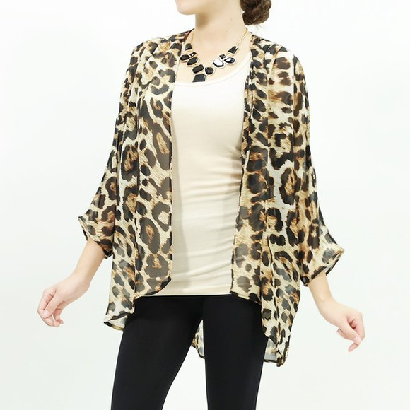 leopard print animal print fashion cardigan animal sheer chiffon top chiffon cardigan top chiffon trendy stylish