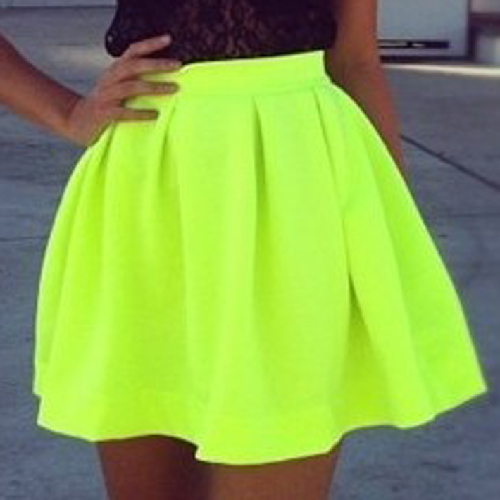 2014 Summer New Arrival Skirts Womens Casual Empire Neon Green Short Skater Skirt Saias Femininas Free Shipping WQB183-in Skirts from Apparel & Accessories on Aliexpress.com