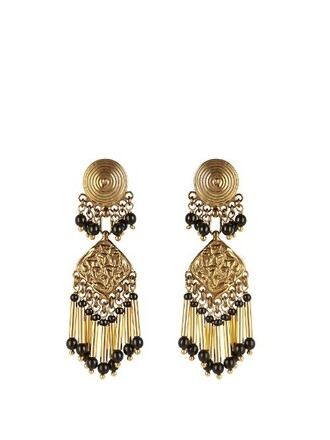 embellished earrings gold black jewels