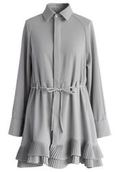 dress,pleated ruffles flare shirt dress in grey,chicwish,grey dress,spring dress,fall dress,chicwish.com,new autumn dress