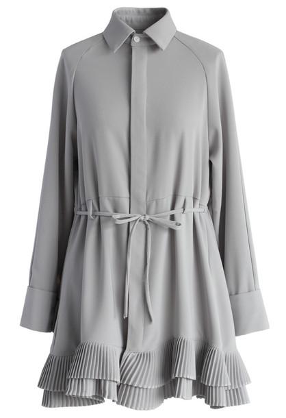 dress pleated ruffles flare shirt dress in grey chicwish grey dress spring dress fall dress chicwish.com new autumn dress