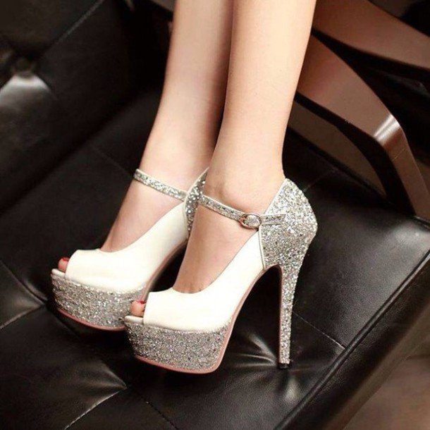 shoes high heels silver shoes silver style fashion heels