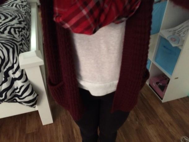 cardigan burgundy sweater