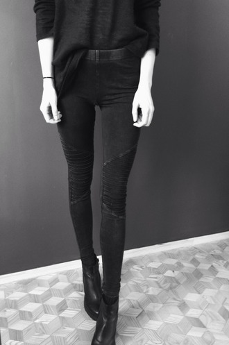 leggings denim ribbed folds jeggings black