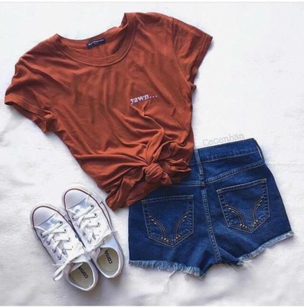 Shirt yawn orange t-shirt tired cute comfy tumblr - Wheretoget