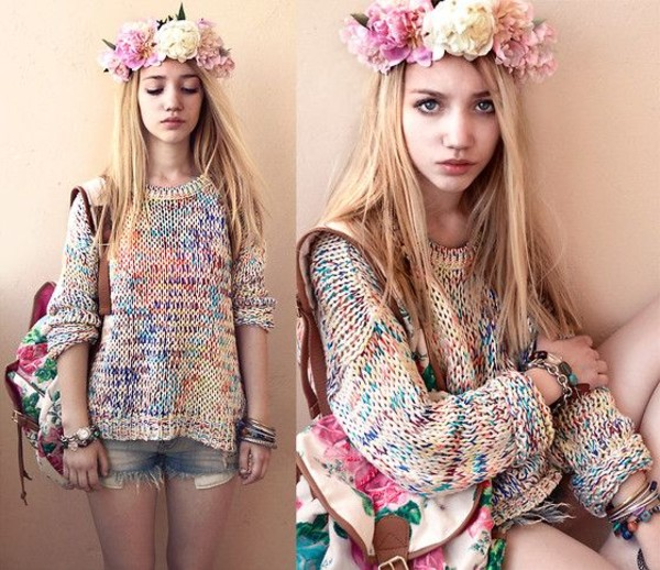 sweater shorts flower crown aksinya air bag