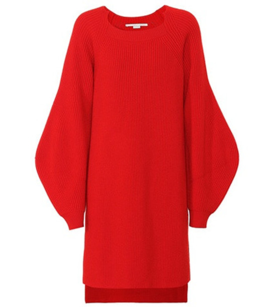 Stella McCartney Ribbed wool tunic sweater in red
