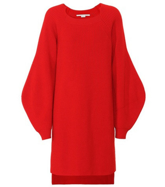 Stella McCartney Ribbed wool tunic sweater in red
