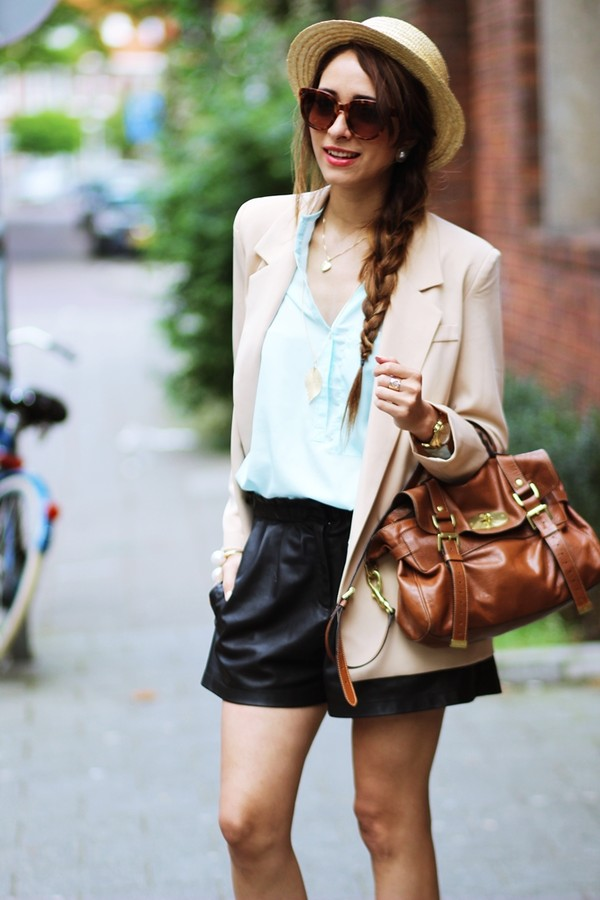 preppy fashionist hat jacket blouse shorts shoes bag sunglasses jewels