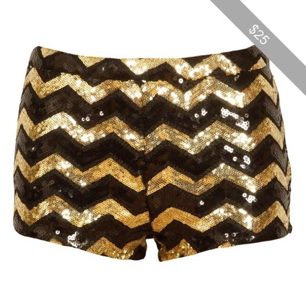 shorts black gold chevron