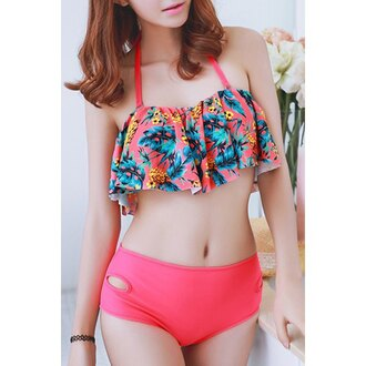 swimwear rose wholesale bikini bikini top floral pink tropical swimwear high waisted bikini girly