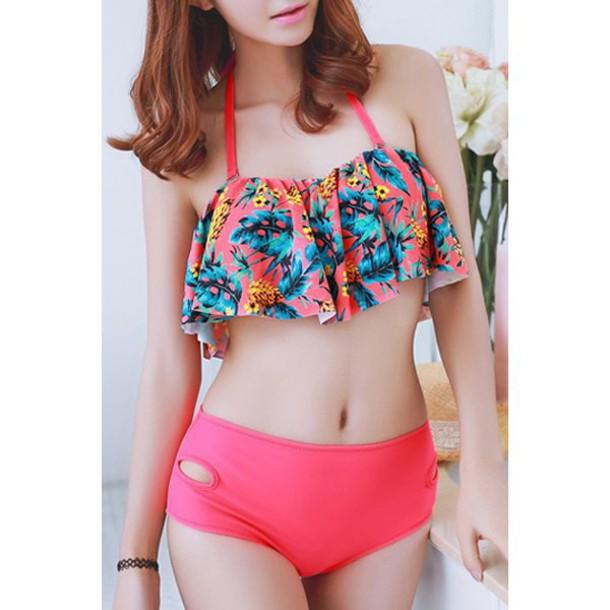 swimwear rose wholesale bikini bikini top floral pink tropical swimwear high waisted bikini girly