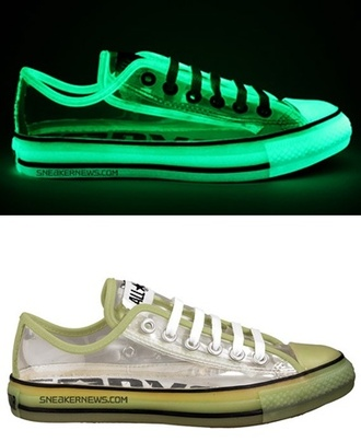 shoes phosphorescent chuck taylor all stars converse transparent fluo neon lighting hipster shinning glow in the dark dope style sneakers