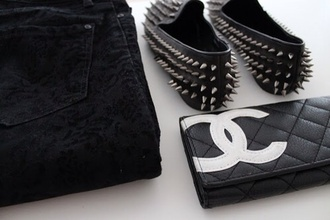 shoes spikes studs silver studs flats black hellraisers