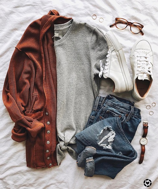 cardigan red orange sweater rust casual fall colors fall outfits winter outfits pinterest
