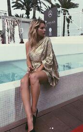 dress,one shoulder,one shoulder dress,lottie moss,instagram,gold,celebrity