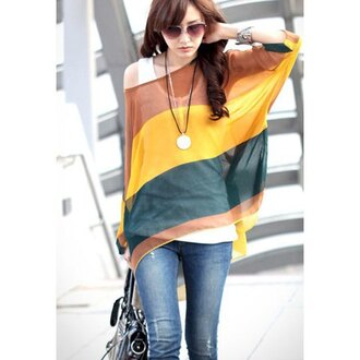 blouse stripes yellow green brown sexy trendy girly stylish summer batwing boho classic retro summer top casual loose cover up batwing blouse bohomian summer outfits beach