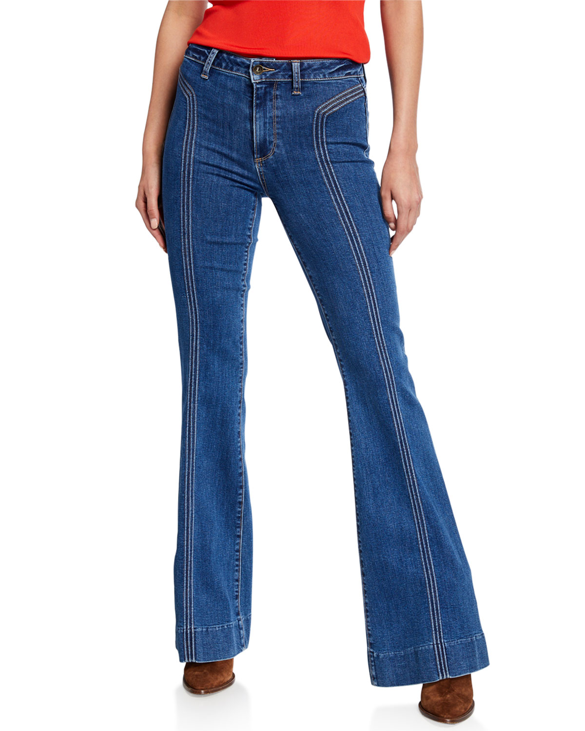 PAIGE Genevieve High-Rise Flare Jeans w/ Topstitching   Neiman Marcus