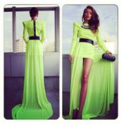 dress,neon,green dress,maxi dress,clothes,green,jewelry,black belt,black purse,neon green dress,prom,prom dress