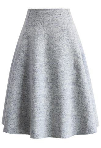 skirt chic wool-blend a-line skirt in grey chicwish