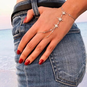 jewels tumblr silver jewelry hand jewelry hand chain accessories accessory nails nail polish red nails