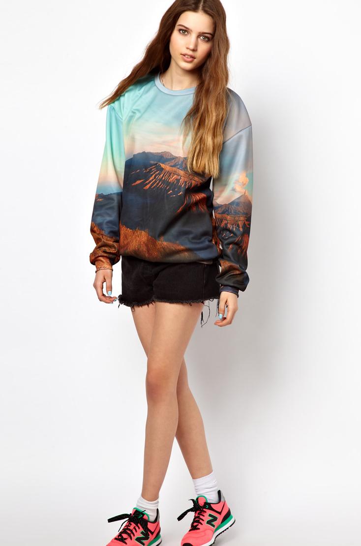 Blue Bluza Volcano Mountains Print Sweatshirt - Sheinside.com
