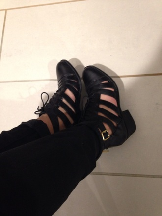shoes steve madden saks fifth avenue strappy wedge black lace up booties boots cute little heel see through