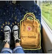 bag,yellow,backpack,tumblr,mustard