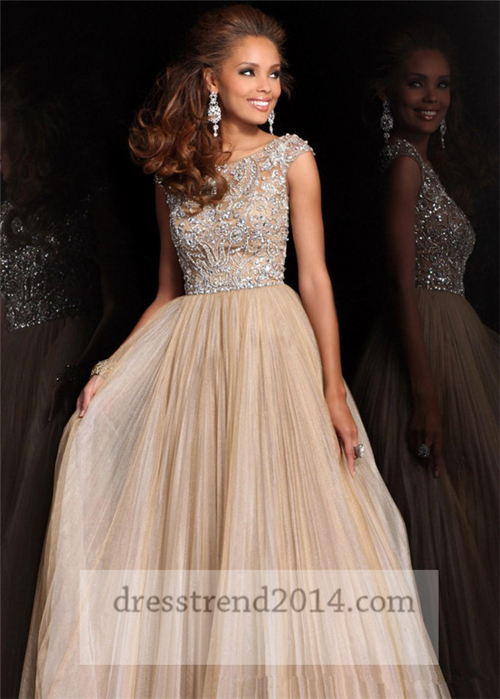 Cap sleeves nude beaded high neck long prom dresss [nude formal prom gown]