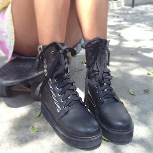 black tie up shoes boots unif combat platform boots