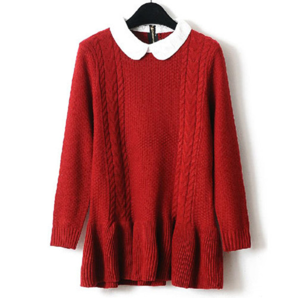 preppy sweet contrast color red dress collared dress sweater