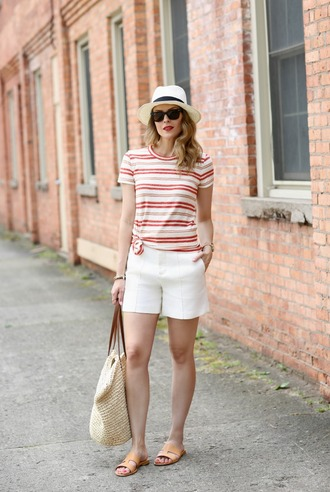 pennypincherfashion blogger t-shirt shorts shoes bag hat jewels white shorts tote bag raffia bag flats summer outfits