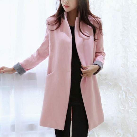 long coat fashion pink slim