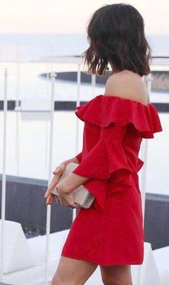 dress red ruffle dress red dress ruffle ruffle sleeves ruffle dress summer girly bag