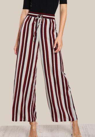 pants girly stripes high waisted palazzo pants wide-leg pants