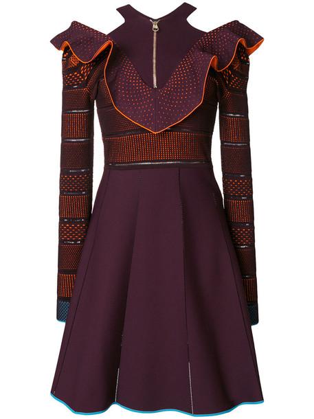 VERSACE dress ruffle women spandex purple knit pink