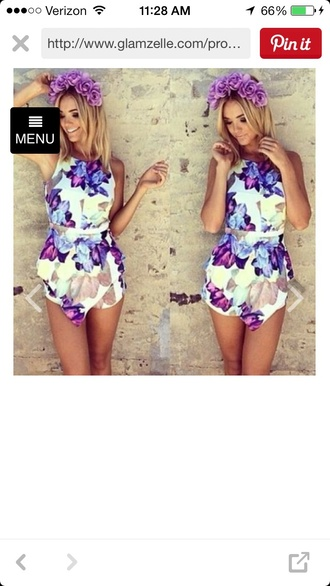jumpsuit floral open back playsuit fashion style tank top white dress shorts summer dress casual purple dress multi colored romper