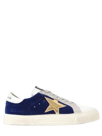 sneakers leather velvet white blue shoes