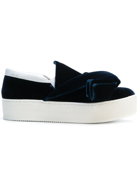 No21 bow women sneakers leather blue velvet shoes