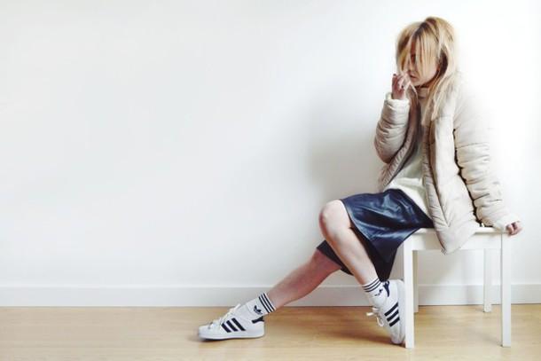 i am charlotte martin blogger adidas shoes down jacket socks adidas leather skirt