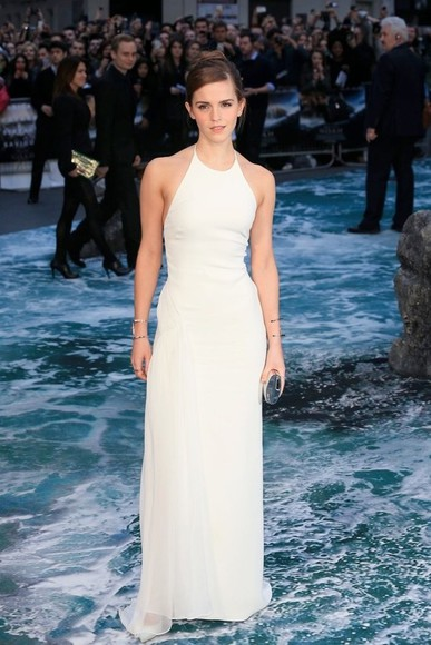 white emma watson dress white dress halterneck backless dress high neck maxi dress