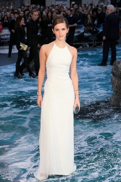 ac4906e882 dress white white dress halterneck backless dress high neck maxi dress emma  watson