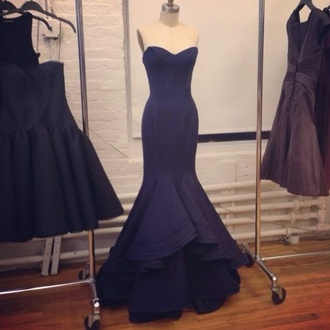 dress prom mermaid beautiful gown maxi formal navy mermaid prom dress red carpet structured layered