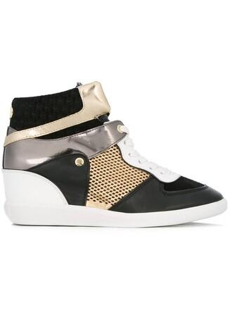 metallic women sneakers leather black shoes