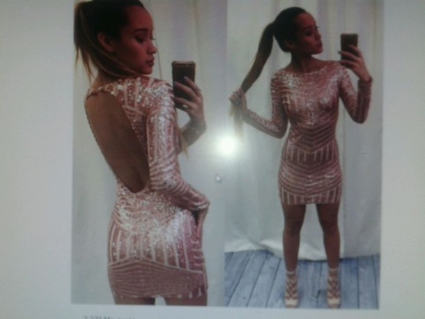 Dress: sequin dress, gold, rose gold, party, party dress - Wheretoget