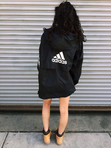 coat adidas adidas coat jacket windbreaker urban nike  puma nike nike windbreaker bag swag black white