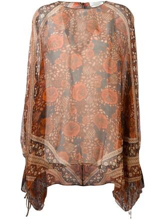 blouse women print silk yellow orange top
